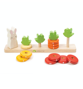 Tender Leaf Counting Carrots | Hand-Crafted Wooden Educational Toy | Front View Selection | BeoVERDE.ie