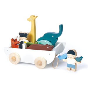 TenderLeaf 'The Friend Ship' Front View | Hand-Crafted Wooden Animal Toys | | Ship Loaded | BeoVERDE.ie