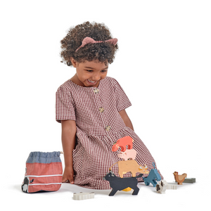 TenderLeaf Stacking Farmyard | Hand-Crafted Wooden Animal Toys | Girl Playing |BeoVERDE.ie