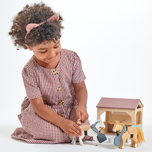 TenderLeaf 'The Stables' | Hand-Crafted Wooden Animal Toys | Girl Playing |BeoVERDE.ie