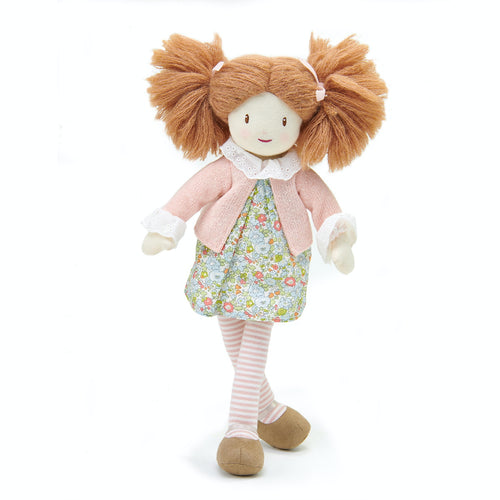 ThreadBear Design Marty Floral Rag Doll | Hand-Crafted Rag Doll | Soft Cotton Children's Doll | Front View – Rag Doll Marty Sitting | BeoVERDE.ie