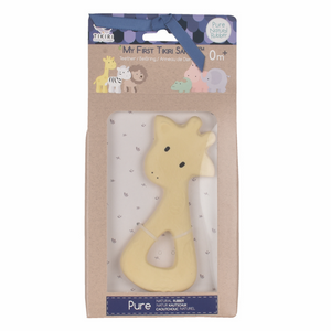 TIKIRI Natural Rubber Baby Teether 'Giraffe' | Packaging | BeoVERDE.ie