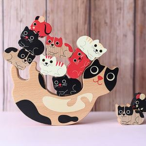 Vilac Catymini Balancing Game Designed by Ingela P. Arrhenius  | Hand-Crafted Wooden Toy | Wooden Stacking Balancing Game | Front View – Lifestyle – Some Kittens on Mother Cat | BeoVERDE.ie