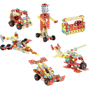 Vilac Wooden Construction Building Set 'Super Batibloc' | Educational Wooden Toy | Overview Vehicles | BeoVERDE.ie