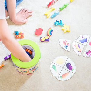 Vilac Wooden Game 'Feel And Find' | Wooden Toddler Activity Toy | Child reaching in Drum | BeoVERDE.ie