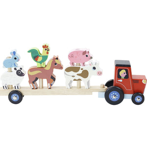 Vilac Stacker Tractor and Trailer with 6 Farm Animals | Wooden Imaginative Play Toy | Front-Side View  - Vehicles on Trailer | BeoVERDE.ie