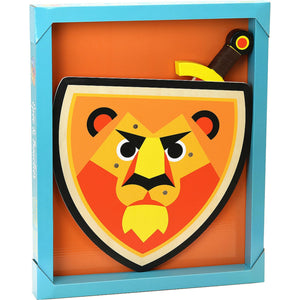 Vilac Wooden Sword and Wooden Shield Set  - Lion | Wooden Pretend Play Toy | Packaging | BeoVERDE.ie