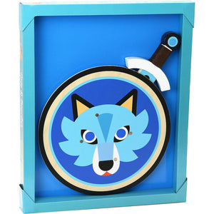 Vilac Wooden Sword and Wooden Shield Set  - Wolf | Wooden Pretend Play Toy | Packaging | BeoVERDE.ie