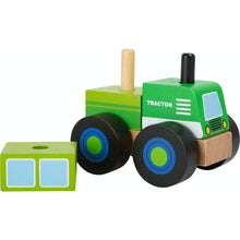Load image into Gallery viewer, Small Foot Wooden Stacker Tractor | Baby & Toddler Activity Wooden Toy | Front Side View – One Piece Removed | BeoVERDE.ie