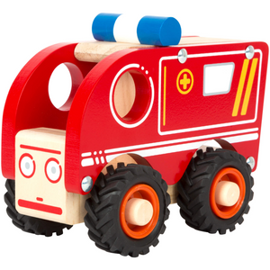 Small Foot Wooden Ambulance | Front Side View Left | BeoVERDE.ie