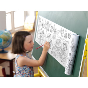 Self-Stick Colouring Book & Roll | Farm Life Adventures | Girl Colouring Sheet Stuck to Wall | BeoVERDE.ie