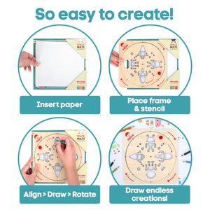 Space - Rotating Wooden Drawing Stencil Kit for Children | Kipod Toys | Wooden Arts & Crafts Kit | Educational Wooden Toy | Instructions | BeoVERDE.ie