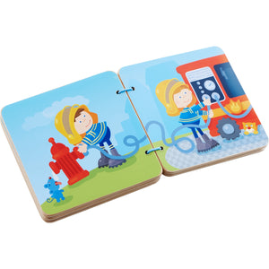 Fire Brigade | Wooden Baby Book | Baby's First Book Toy | HABA | Book Open | BeoVERDE.ie