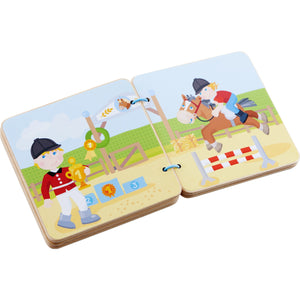 The Stables | Wooden Baby Book | Baby's First Book Toy | HABA | Book Open | BeoVERDE.ie