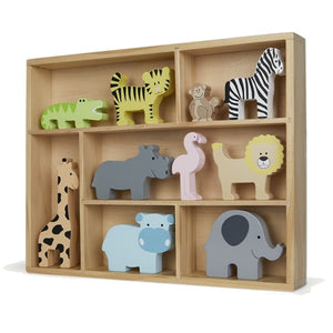 JaBaDaBaDo Wooden Animal Display Shelf With 9 Different Safari Animals | Wooden Imaginative Play Toy | Left View | BeoVERDE.ie