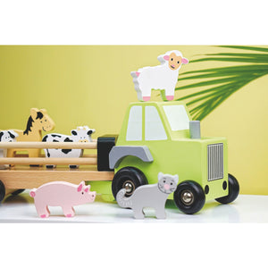 JaBaDaBaDo Farm Tractor | Wooden Imaginative Play Toy | Side View – Lifestyle | BeoVERDE.ie