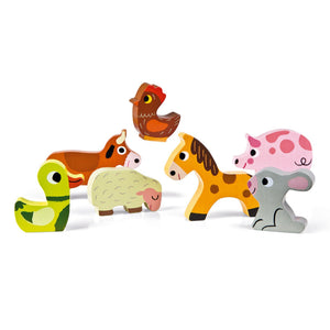 Janod Farm Puzzle With 7 Different Animals | Wooden Imaginative Play Toys | 7 Animals | BeoVERDE.ie