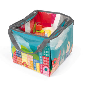 Janod Kubix 70 Archi Blocks | 70 Solid City-Themed Play Blocks & Mat | Case Folded | BeoVERDE.ie