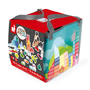 Janod Kubix 70 Archi Blocks | 70 Solid City-Themed Play Blocks & Mat | Packaging | BeoVERDE.ie