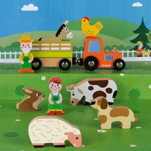 Janod Wooden Figure Farm Play Set with 10 Figures | Imaginative Play Toys | Lifestyle | BeoVERDE.ie
