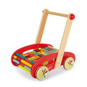 Janod Baby Walker With Wooden ABC Blocks | Wooden Push Along Trolley | Wooden Toddler Activity Toy | Front-Right Side View | BeoVERDE.ie