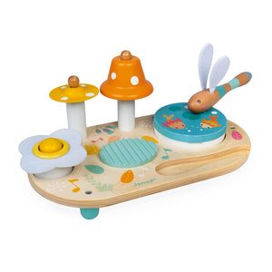 Janod Pure Musical Table | Wooden Toddler Activity Toy | Playing Drum | BeoVERDE.ie