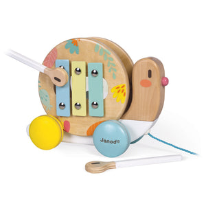 Janod Pure Pull-Along Snail | Wooden Toddler Activity Toy | Right Side View Playing Xylophone | BeoVERDE.ie