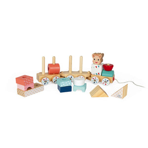 Janod Sophie la girafe Wooden Train | Wooden Toddler Activity Toy | Left Side With Partially Stacked Blocks | BeoVERDE.ie