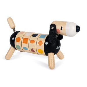 Janod Sweet Cocoon Shapes And Colours Dog | Scandi Style Wooden Toy | Front Right Side Colour Lined-up | BeoVERDE.ie