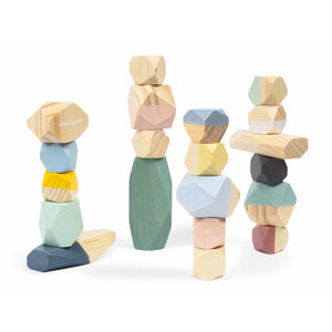 Janod Sweet Cocoon Stacking Stones | Scandi Style Wooden Toy | Front View Stones Stacked Up To Towers | BeoVERDE.ie