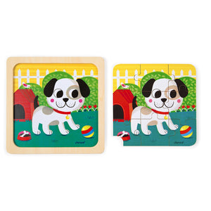 Janod Titus the Dog Wooden Puzzle | Wooden Toddler Activity Toy | Puzzle Removed From Tray | BeoVERDE.ie