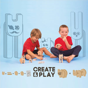 Kipod Toys Funny Creatures | Creative Wooden Toy Play Set | Wooden Assembly Puzzle & Game | Lifestyle – 2 Boys Playing | BeoVERDE.ie