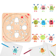 Load image into Gallery viewer, Monsters - Rotating Wooden Drawing Stencil Kit for Children | Kipod Toys | Wooden Arts & Crafts Kit | Educational Wooden Toy | Combinations | BeoVERDE.ie