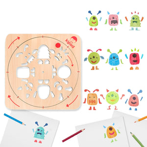Monsters - Rotating Wooden Drawing Stencil Kit for Children | Kipod Toys | Wooden Arts & Crafts Kit | Educational Wooden Toy | Combinations | BeoVERDE.ie