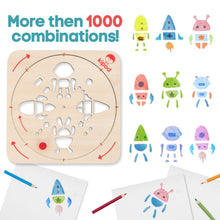 Load image into Gallery viewer, Space - Rotating Wooden Drawing Stencil Kit for Children | Kipod Toys | Wooden Arts & Crafts Kit | Educational Wooden Toy | Combinations | BeoVERDE.ie