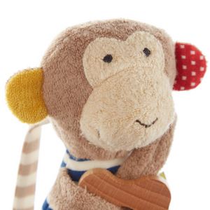 Sigikid Organic Monkey Rattle and Teether | Closeup Head | BeoVERDE.ie