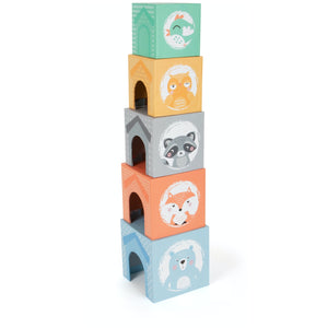 Small Foot Stacking Cubes With 5 Forest Animals | Wooden Imaginative Play Toy | Tower - Side View without Wooden Animals | BeoVERDE.ie
