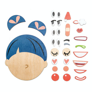Tender Leaf Toys What's Up? | Wooden Educational Toy | Magnetic Wooden Toy | Overview Face Pieces | BeoVERDE.ie