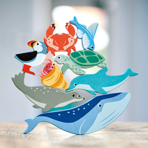 Tender Leaf 10 Coastal Animals & Shelf Set | Hand-Crafted Wooden Animal Toys | Woodland Animals Collection | BeoVERDE.ie