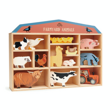 Load image into Gallery viewer, Tender Leaf 13 Farmyard Animals & Shelf Set | Hand-Crafted Wooden Animal Toys | Shelf Side View |BeoVERDE.ie