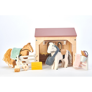 TenderLeaf 'The Stables' Front View | Hand-Crafted Wooden Animal Toys | BeoVERDE.ie