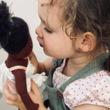 Load image into Gallery viewer, ThreadBear Design Esme Rainbow Rag Doll | Hand-Crafted Rag Doll | Soft Cotton Children's Doll | Lifestyle – Girl Kissing Rag Doll Esme | BeoVERDE.ie
