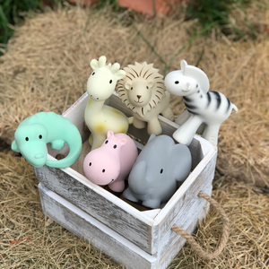 TIKIRI Natural Rubber Rattle & Bath Toy 'Safari' | Lifestyle Box | BeoVERDE.ie