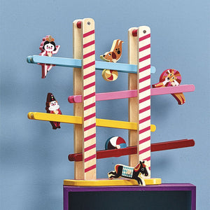 Vilac Acrobat's Cascade designed by Ingela P.Arrhenius | Wooden Toddler Activity Toy | Lifestyle - Side View | BeoVERDE.ie