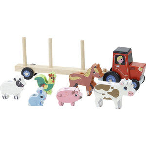 Vilac Stacker Tractor and Trailer with 6 Farm Animals | Wooden Imaginative Play Toy | Side View  - Vehicles off Trailer | BeoVERDE.ie