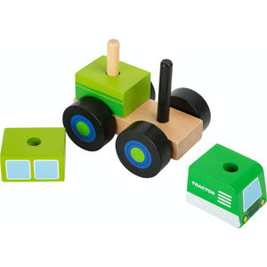 Small Foot Wooden Stacker Tractor | Baby & Toddler Activity Wooden Toy | Front Side View – All Pieces Removed | BeoVERDE.ie