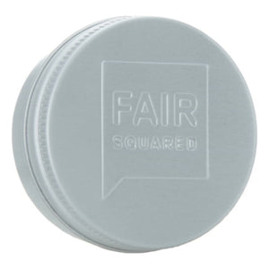 FAIR SQUARED Almond Lip Balm | Fairtrade Vegan Natural Halal | Tin Side Closeup | BeoVERDE.ie
