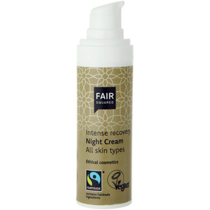 FAIR SQUARED Intense Recovery Night Cream | Fairtrade Vegan Natural Halal | Dispenser Open | BeoVERDE.ie