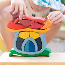 Load image into Gallery viewer, Gluckskafer Wooden Mushroom House | Imaginative Play Wooden Toys | Waldorf Education and Montessori Education | Lifestyle: Children Stacking Pieces | BeoVERDE.ie