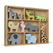 Load image into Gallery viewer, JaBaDaBaDo Wooden Animal Display Shelf With 9 Different Safari Animals | Wooden Imaginative Play Toy | Right View | BeoVERDE.ie